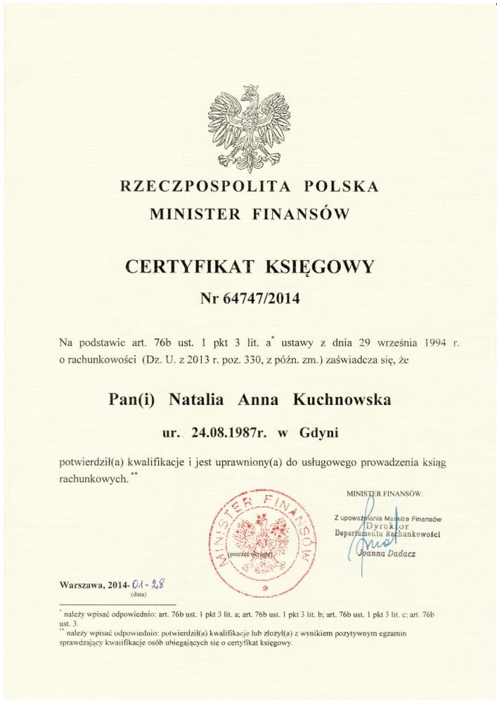 Certyfikat księgowy - Biuro rachunkowe Gdynia