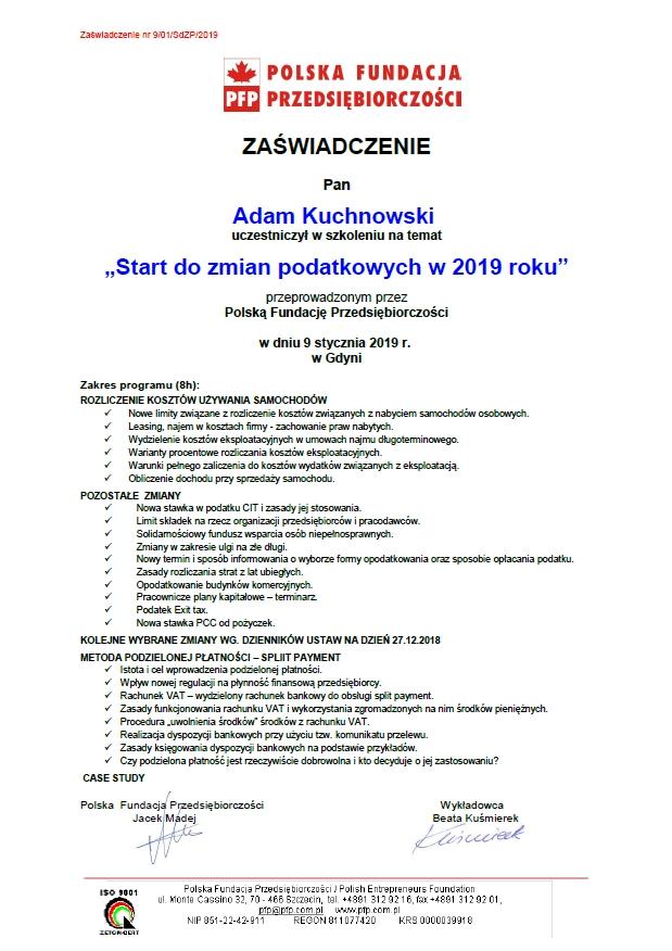 Zmiany podatkowe 2019 Adam Kuchnowski