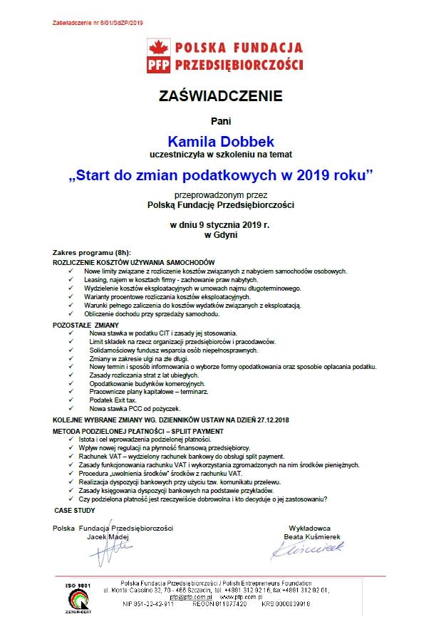 Zmiany podatkowe 2019 Kamila Dobbek