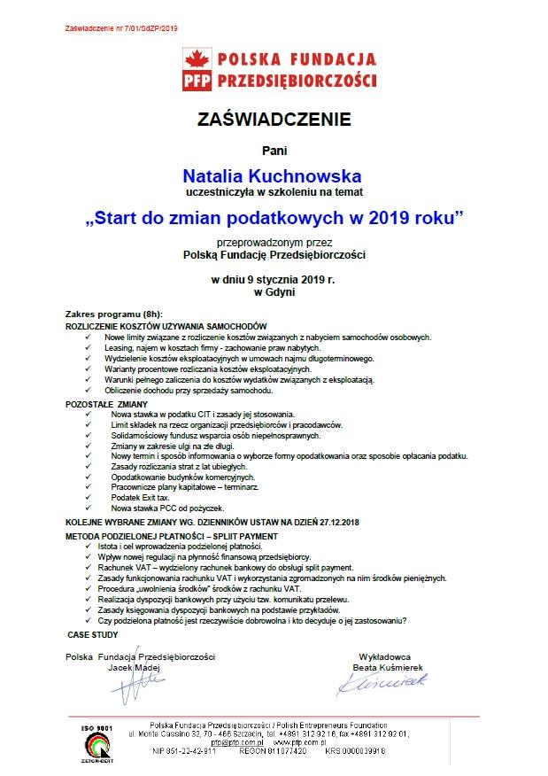 Zmiany podatkowe 2019 Natalia Kuchnowska