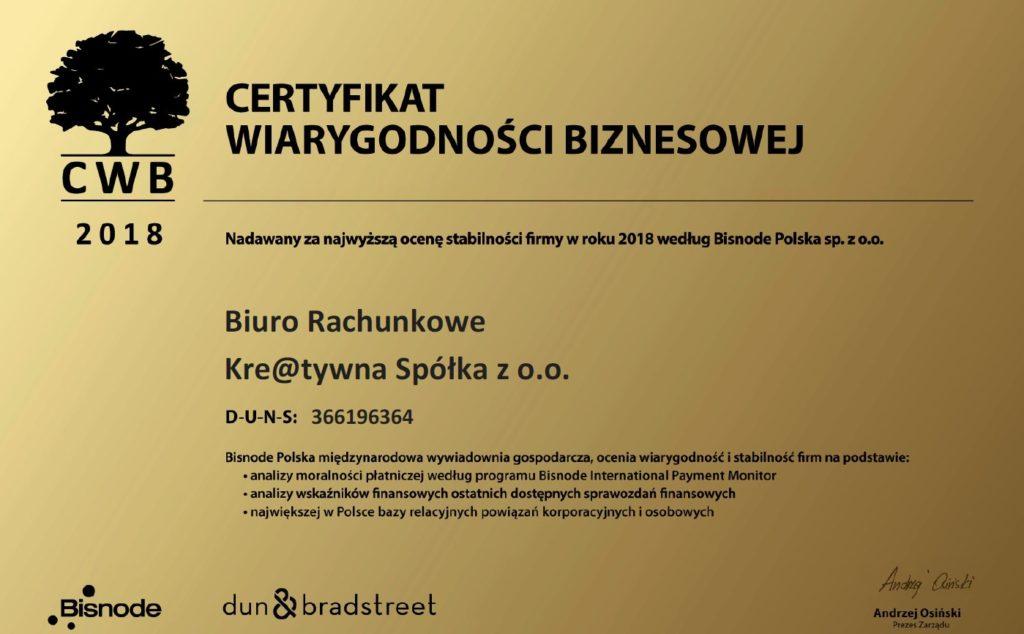 Certyfikat Wiarygodności Biznesowej 2018 Biuro rachunkowe Kre@tywna Spółka